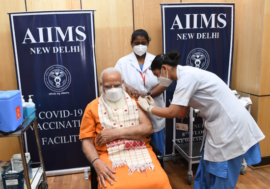 Shri Narendra Modi, Hon'ble Prime Minister getting vaccinated against COVID-19 (2nd dose 8th April, 2021)